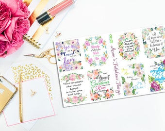 Quote Stickers, Erin Condren Life Planner Labels, ECLP box stickers, Vertical Erin Condren Planner gift Stickers, floral sticker labels