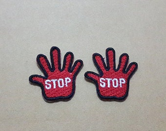 Set 2 pcs Stop Sign - Little Red Hand Applique Embroidered Iron on Patch size 3 x 3.3 cm.