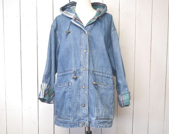 Slouchy Denim Jacket Hooded Plaid Lined Drawstring Waist 1980s Over Sized Vintage Jean Jacket Large XL
