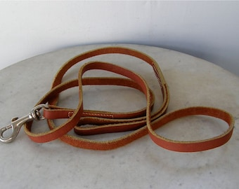 "LEATHER DOG LEASH Leather Lead Double Stitching Loop Handle 70"" Long x 1/2"" Wide Easy Metal Closure Vintage American 1980's Free Shipping!"