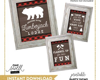Lumberjack Party signs | Lumberjack Signs, Birthday, Lumberjack Decorations, Lumberjack Decor, Rustic Party Decorations