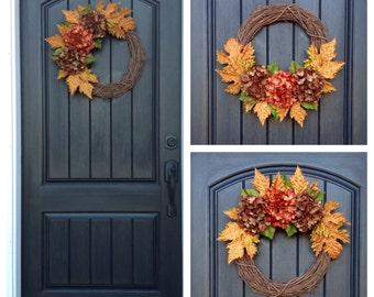One Wreath/3 Ways to Display-Fall Wreath-Autumn Wreath-Grapevine Door Decor-Fall Decor-Brown Orange Hydrangeas-Fall Leaves-Indoor/Outdoor