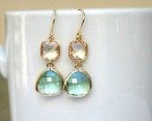 Crystal and Prasiolite Earrings in Gold. Clear Earrings.Gold Bridesmaid Earrings.Bridal Jewelry. Wedding Jewelry. Bridesmaid Earrings.Gifts