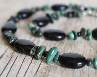 50% OFF CLEARANCE / Black and Green Stone Choker Necklace / Gemstone Necklace / Chunky Jewelry Set / Chunky Choker / Gifts for Her / Boho