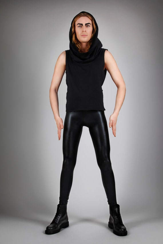 Black Leather Leggings Shiny Spandex Pants Meggings Sexy