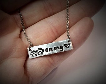 "Pet Memorial ""Pawprints on my Heart"" REVERSIBLE Necklace - Dogs and Cats - In Memory of Pet - Pet Loss Remembrance - Pet Love Furever Friend"