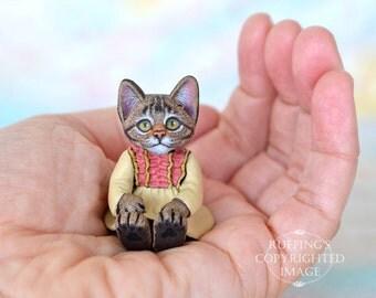 Cat Art Doll, OOAK Original Tabby Kitten, Miniature Hand Painted Folk Art Figurine Sculpture, Corinne by Max Bailey