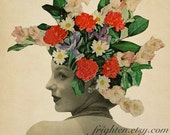 Floral Art Print, Paper Collage Print, Spring Art, Suddenly Blooming, Flowers in Hair, Retro Art Print, Floral Wall Art