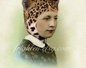 Mixed Media Collage, Collage Print, Leopard Hat, Vintage Photography, Altered Portrait, Unusual Wall Art, Anthropomorphic Art