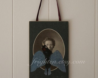 Cabinet Card Art, Collage on Paper, Victorian Woman, One of a Kind Wall Decor, Unusual Bird Art