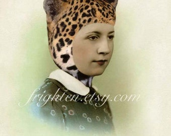 Retro Wall Art Altered Portrait Woman in Leopard Cat Ears Hat Mixed Media Collage 8.5 x 11 inch Print, Unusual Portrait
