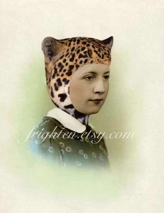 Retro Wall Art Altered Portrait Woman in Leopard Cat Ears Hat Mixed Media Collage 8.5 x 11 inch Print