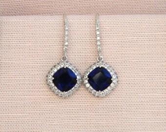 Sapphire Blue wedding earrings, Cushion Cut Bridal Earrings, Sapphire Blue Halo  Bridesmaids Wedding Jewellery,  Molly Earrings