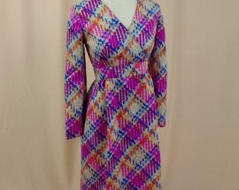 1960s Dress * Pink and Blue Dress * Empire Waist Dress * Summer Dress * Geometric Dress * V Neck Dress * Mod Dress * Twiggy Dress
