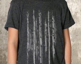 Kid's Forest T-Shirt - Grunge Forest Illustration -  TriBlend T-Shirt