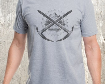 Men's Mountaineering T-Shirt  - Screen Printed Men's American Apparel T-Shirt