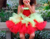 Strawberry Tutu Costume for Toddlers, Girls, Pageants, Recitals, Plays, Halloween, Birthday Party Dress Up, Summer Festivals