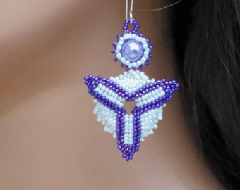 Purple & White Earrings - Pearl Earrings - Unique Beadwork - Medallion - Beaded Drop Style - Classy Jewelry - Modernist Earring