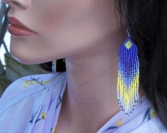 Long Seed Bead Earrings - Beaded Purple and Yellow Earrings - Ombre - Colorful Fringe Earrings - 4.25 Inch Long Dangle Earrings