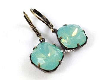 Mint Opal Earrings - Swarovski Crystal Pacific Opal Estate Style Cushion Cut Antique Bronze Earrings