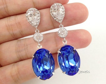 Blue Sapphire Earrings - Long Wedding Earrings Cobalt Blue Swarovski Crystal Bridal Earrings