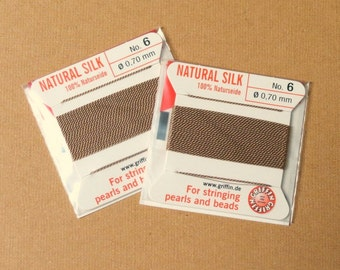 Natural Silk Cord With Needle - 2 packs - Size 6 - Beige