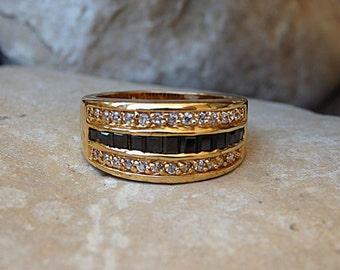 Gold Onyx and Zirconia Band Ring, Goldfilled Band Ring, Gold Band with Cubic Zirconia and Onyx Stones, Black & White Ring for Women Band