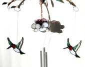 Hummingbird and Pansy Stained Glass Wind Chimes/ Spinner/ Sun Catcher