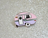 SECONDS SALE - Camper Enamel Pin - Retro Pin - Vintage Camper - Caravan - Lapel Pin - Pin Badge - Hard Enamel Pin - Pastel Pin