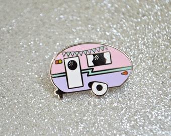 SECONDS SALE - Camper Enamel Pin - Retro Pin - Vintage Camper - Caravan - Lapel Pin - Pin Badge - Hard Enamel Pin - Pastel Pin
