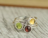 Stacking Rings - Garnet Ring - Peridot Ring - Citrine ring - Silver Stacking Ring - Sterling Silver Stacking Ring - AUTUMN stackable