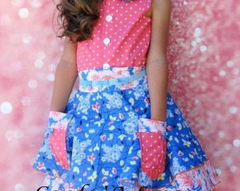Girls Skirt and Top Set Blue Coral-Size 2-10  Children's clothing girls dress