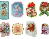 """Large Stickers (each sticker 2.5""""x3.5"""", pack 8 stickers) Scrapbooking Craft Vintage # Adorable Kittens FLONZ 141"""