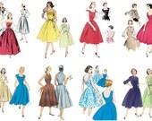 "Large Stickers (each sticker 2.5""x3.5"", pack 8 stickers) Scrapbooking Craft Vintage # Ladies in Dresses FLONZ 354"