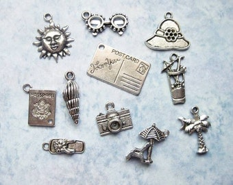 Tropical Vacation Charm Collection in Silver Tone - C2155