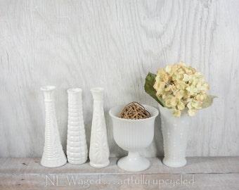 Milk glass vase / Wedding centerpiece / instant collection of 5 / home decor
