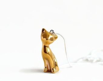 Gold cat pendant - sterling silver chain - gold porcelain cat pendant figurine - handmade ceramic cat necklace