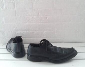 Doc Martens Black Oxfords Men's US 11 UK 10 EU 45 90s Vintage Goth Pointy Toe Brogues Punk Rockabilly Club Kid Minimalist Dr Martens Shoes