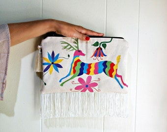 clutch bag, deer art, wearable art, fringe purse, textile art, colorful painting, mexican folk art
