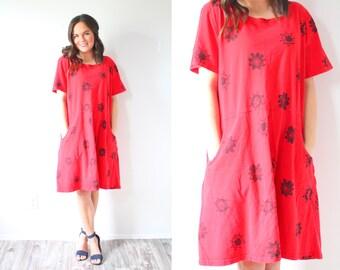 Vintage red summer dress // beach dress // southwestern red dress // summer sunshine dress // oversized dress // swim cover up dress