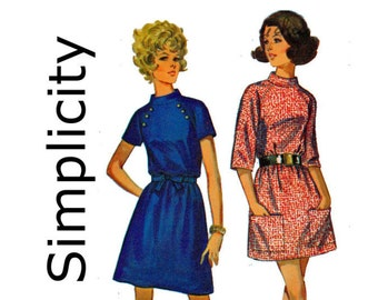 1960s Jiffy Simple to Sew Sewing Pattern Dress knee and Mini Stand up Collar Simplicity 8335 Size 14 Bust 36