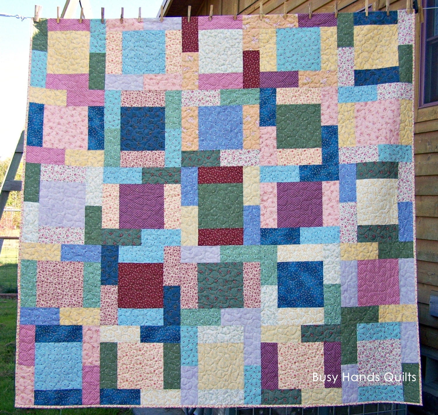 Ready To Ship Modern Lap Quilt Handmade Birthday Gift Old