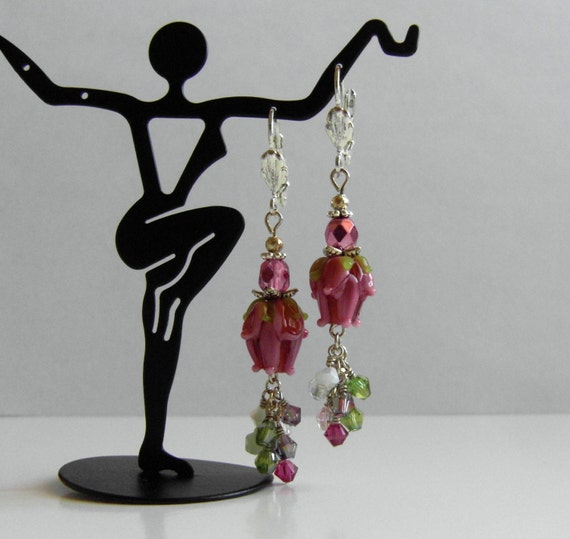 Floral Lampwork Glass Earrings  Rose Bud Svarowski  Crystals Cluster Cascade Dangle Earrings