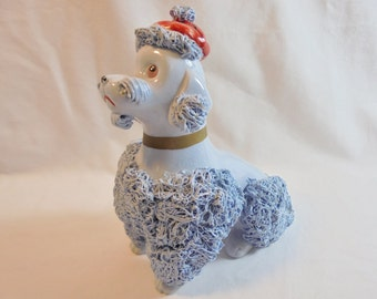 Vintage Blue Spaghetti Poodle Figurine Wales? Japan Red Beret Hand Painted 1950's Mid Century Home Decor Statue