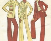 70s Womens Western Style Shirt Jacket and Pants Embroidery Transfer Simplicity Sewing Pattern 7696 Size 10 Bust 32 1/2 UnCut