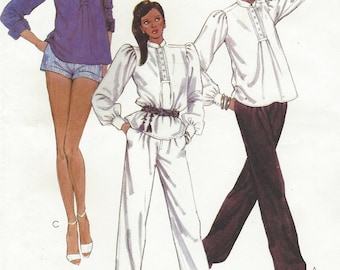 80s Liz Claiborne Womens Shirt, Pants and Shorts McCalls Sewing Pattern 7622 Size 12 Bust 34 UnCut Vintage Designer Sewing Patterns