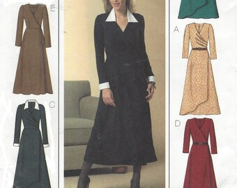 Six Sew Easy Womens Mock Wrap Dress Midi Length Butterick Sewing Pattern B4596 Size 6 8 10 12 Bust 30 1/2 to 34 UnCut Sewing Patterns
