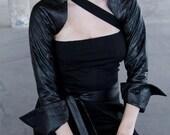 Kasia Kulenty - Faux Quilted Leather Fin Back Shrug Jacket
