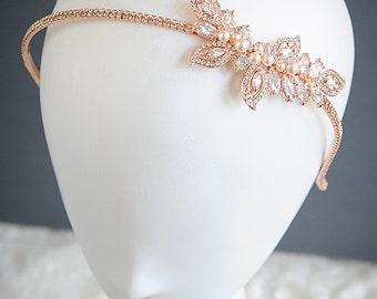 Rose Gold Bridal Headband, Leaf Vine Wedding Headband, Swarovski Pearl Hairband, Wedding Bridal Hair Jewelry, Hair Accessories, AUGUSTINA
