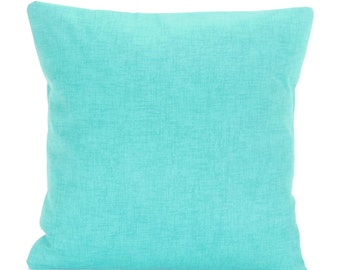 Aqua Outdoor Pillow COVERS Decorative Throw Cushion Couch Pillow Solid Aqua ALL SIZES Coastal Cottage Decor Aqua Jackson Beach Pillow Sham